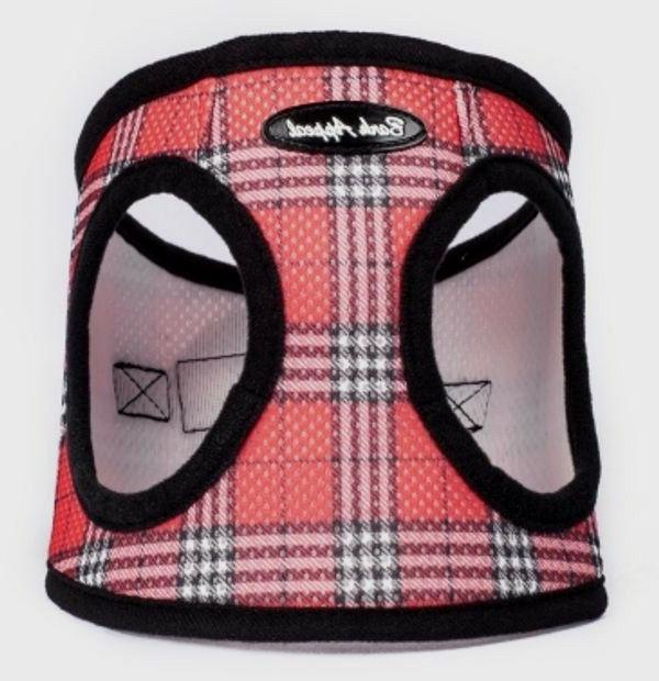 step in dog harness red plaid mesh