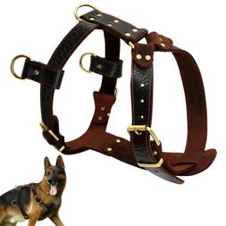 Large Leather Dog Harnesses Heavy Duty Pet Vest Dog Pulling
