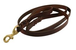 "Leather Braided Leash Double Handle, 6' x 1"", Brown, Oiled L"