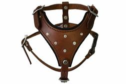 Leather Rhinestones Bling Dog Harness, X Small, Brown, Argen