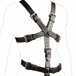 Men's PU Leather Full Body Chest Harness Buckle Strap Linger