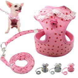 Mesh Padded Dog Harnesses and Leash Chihuahua Harness Lace V