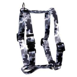 NEW Black and White Camo Roman Style H Dog Harness by Yellow