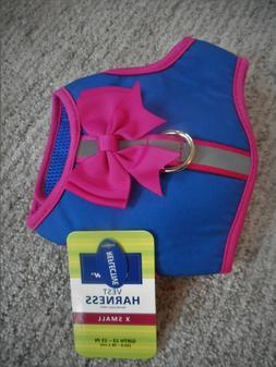 NEW Cute Top Paw XS Extra Small Dog Harness w/ Bow Bright Bl