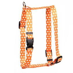 Yellow Dog Design Orange Polka Dot Roman H Dog Harness, Smal