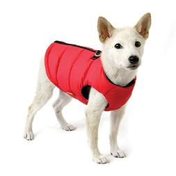 Gooby - Padded Vest Solid, Dog Jacket Coat Sweater with Zipp