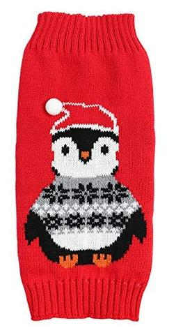 Lanyar Penguin Red Christmas Holiday Festive Dog Sweater for
