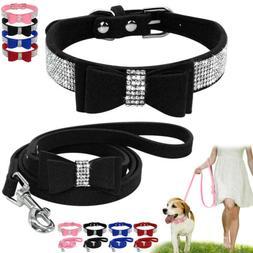 Pet Cat Dog Puppy Bling Rhinestone Bowknot Collar Rope Leash
