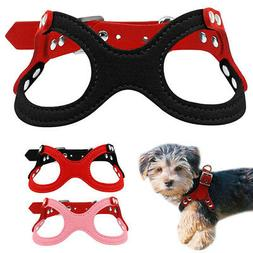 Pet Dog Soft Suede Leather Small Teacup Harness Vest Collar