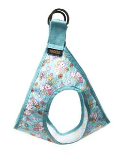Gooby Picnic Dog Harness, Large, Aqua Flower