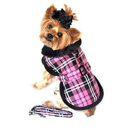 Doggie Design Pink Classic Plaid Wool/fur Collared Harness C