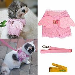 Pink Cute Adorable Pet Cat Dog Harness and Leash Set with La