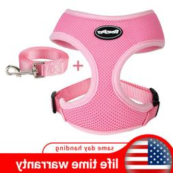 Pink Cute Dog Harness and Leash for Dog & Cat Soft Polyester