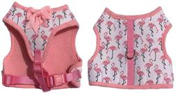 Lanyar Pink Flamingo Soft Girl Dog Harness Bowtie Harness No