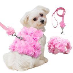 Pink Flowers Small Dog Vest Harness and Leash for Girl Dogs