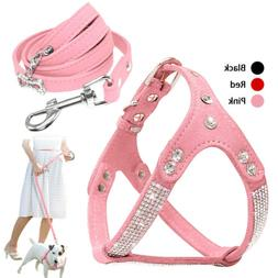 Pink Rhinestone Girl Dog Harness and Leash Set for Small Med