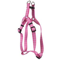 Yellow Dog Design Preppy Plaid Pink Step-in Dog Harness, Sma