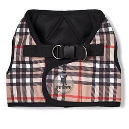 The Worthy Dog Printed Sidekick Tan Plaid Harness, Tan, XXS