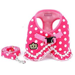 SMALLLEE_LUCKY_STORE No Pull Polka Dot Small Dog Cat Harness