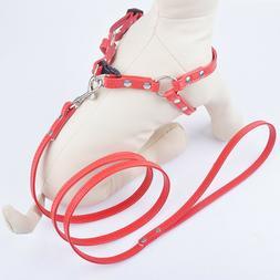 Puppy Dog Vest Harnesses Leads Set Pu Leather Adjustable Pet