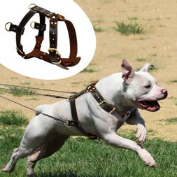 Real Genuine Leather Dog Harnesses Soft Heavy Duty Dog Vest