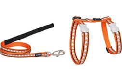 Red Dingo Reflective Cat Harness and Lead Combo, Orange