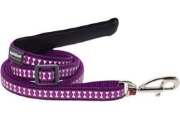 Red Dingo Reflective Dog Lead, Large, Purple