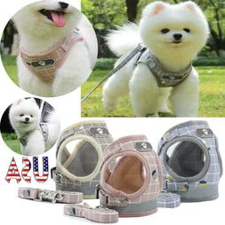 Reflective Mesh Pet Dog Harness+Leash Strap Set Soft XS-XL P