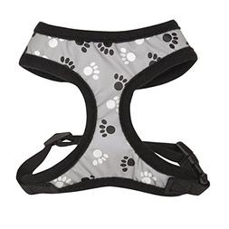 Casual Canine Reflective Pawprint Dog Harness, Small, Black
