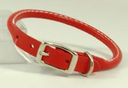 """Auburn Leathercrafters Round Dog Collar Color: Red, Size: 1"""""""