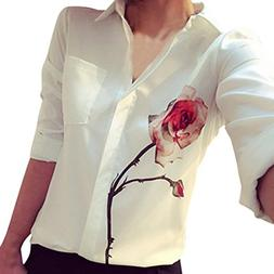 Shirts,NEWONESUN Women Long Sleeve Rose Flower Blouse Turn D
