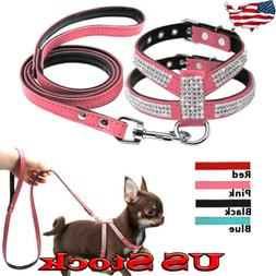 Small Dog Harness Leash Suede Leather Rhinestone Pet Harness