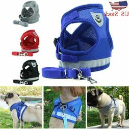 Small Medium Dog Nylon Mesh Harness Puppy Lead Leash Vest Fo