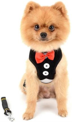 SMALLLEE_LUCKY_STORE Bowtie Small Dog Tuxedo Harness for Pup