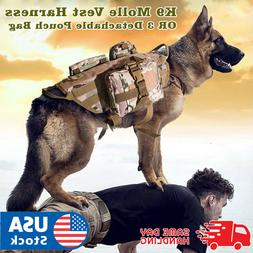 Tactical Dog Hunting Training K9 Molle Vest Harness with 3 D