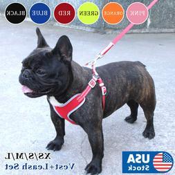 USA Reflective Dog Vest Harness Leash Collar Set No Pull Adj