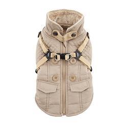 Puppia Wilkes Winter Fleece Vest, X-Large, Beige