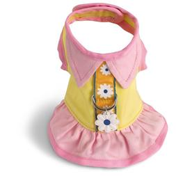 Yellow Pink Cotton Dog Harness Dress Doggles all sizes Pet