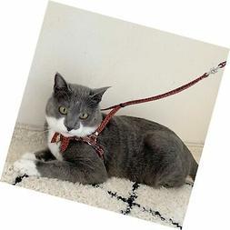Necoichi Zen Fish Charm Cat Harness & Leash Set Red